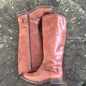 Hinge Leather Tall Boots Brown Flat Cognac 8.5 Zip